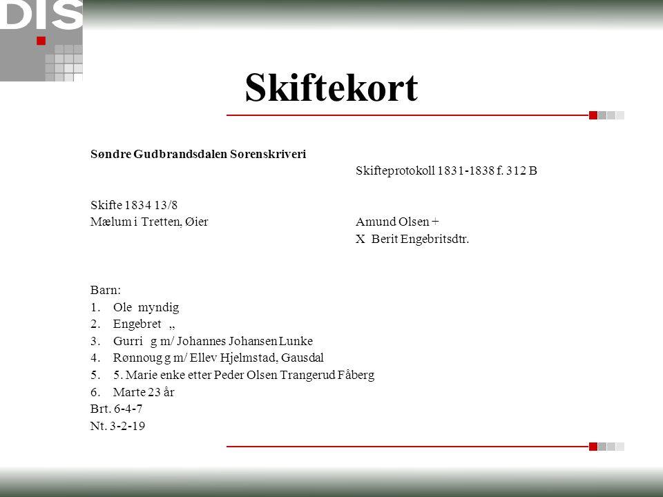Skiftekort Søndre Gudbrandsdalen Sorenskriveri Skifteprotokoll 1831-1838 f. 312 B Skifte 1834 13/8 Mælum i Tretten, ØierAmund Olsen + X Berit Engebrit