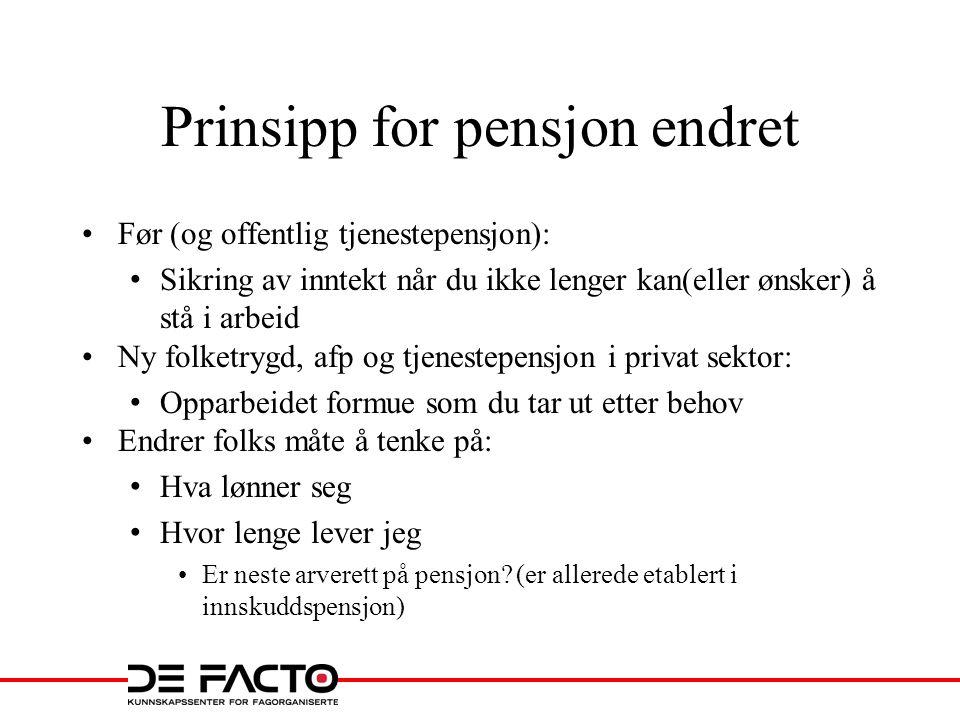 Sammenlikning offentlig tjenestepensjon med privat pensjon Avgang 62 Avgang 70 Folketrygd Afp –tillegg Tjenestepensjon Folketrygd Afp - tillegg Tjenestepensjon 65 67