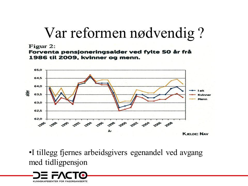 Var reformen nødvendig • I tillegg fjernes arbeidsgivers egenandel ved avgang med tidligpensjon