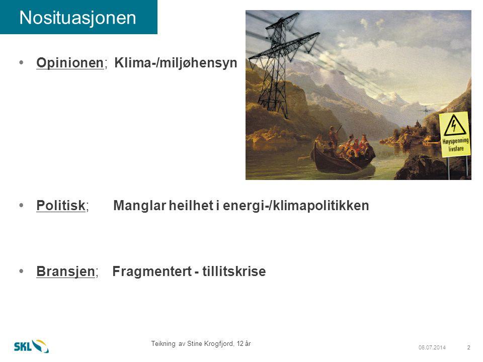 206.07.20142 Nosituasjonen  Opinionen; Klima-/miljøhensyn  Politisk; Manglar heilhet i energi-/klimapolitikken  Bransjen; Fragmentert - tillitskrise Teikning av Stine Krogfjord, 12 år
