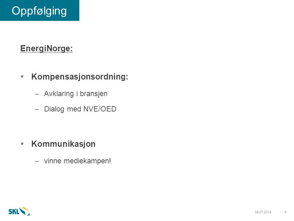 906.07.2014 Oppfølging EnergiNorge:  Kompensasjonsordning: –Avklaring i bransjen –Dialog med NVE/OED  Kommunikasjon –vinne mediekampen!