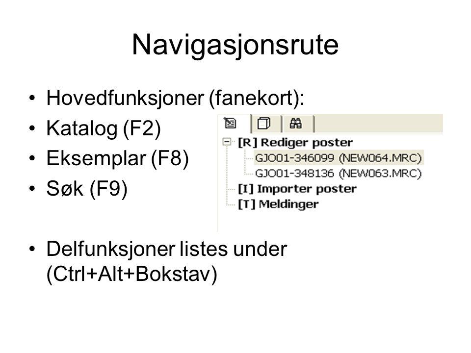 Navigasjonsrute •Hovedfunksjoner (fanekort): •Katalog (F2) •Eksemplar (F8) •Søk (F9) •Delfunksjoner listes under (Ctrl+Alt+Bokstav)