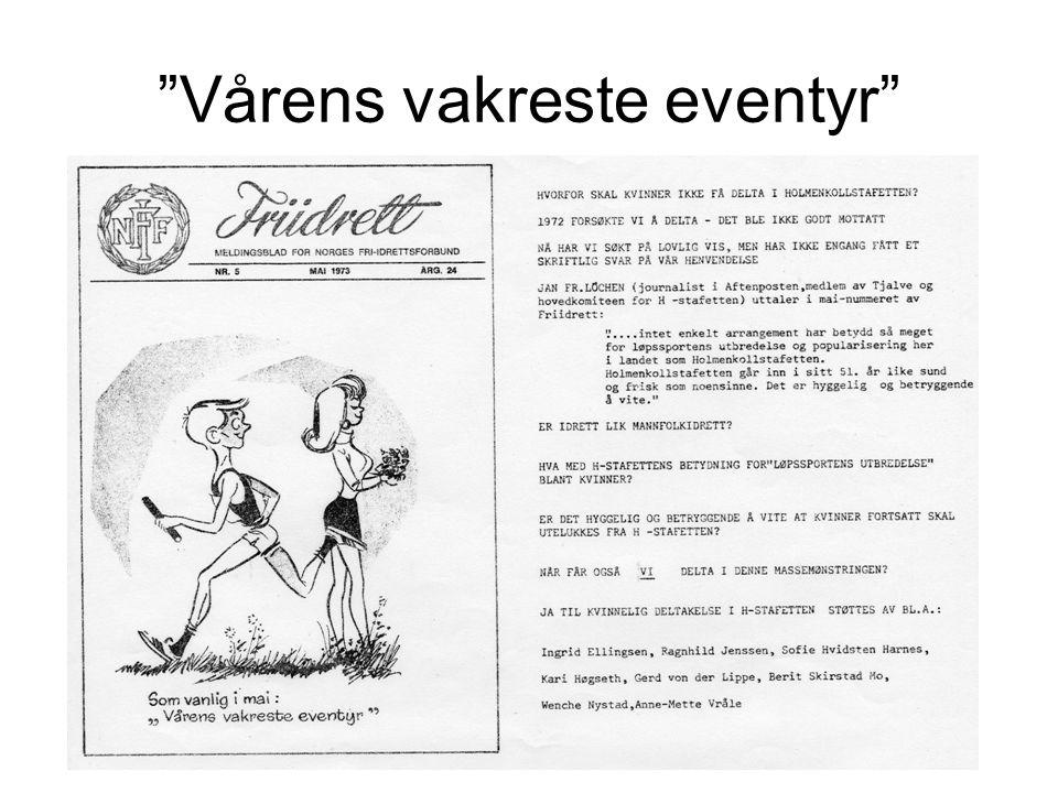 •Holmenkollstafetten startet i 1923 •Distansen: tur retur Bislet – Holmenkollen • Spørsmålet om kvinnelig deltakelse kan stå som symbol på striden for likestilling av kvinnene i idretten på 1970-tallet og deler av 68-opprøret