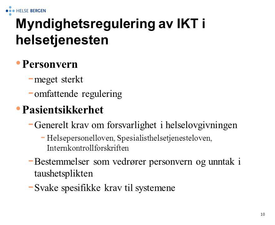 Myndighetsregulering av IKT i helsetjenesten • Personvern  meget sterkt  omfattende regulering • Pasientsikkerhet  Generelt krav om forsvarlighet i