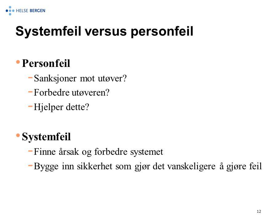 Systemfeil versus personfeil • Personfeil  Sanksjoner mot utøver?  Forbedre utøveren?  Hjelper dette? • Systemfeil  Finne årsak og forbedre system