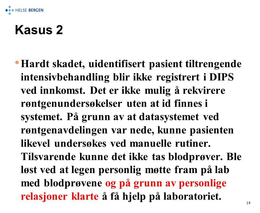 Kasus 2 • Hardt skadet, uidentifisert pasient tiltrengende intensivbehandling blir ikke registrert i DIPS ved innkomst. Det er ikke mulig å rekvirere