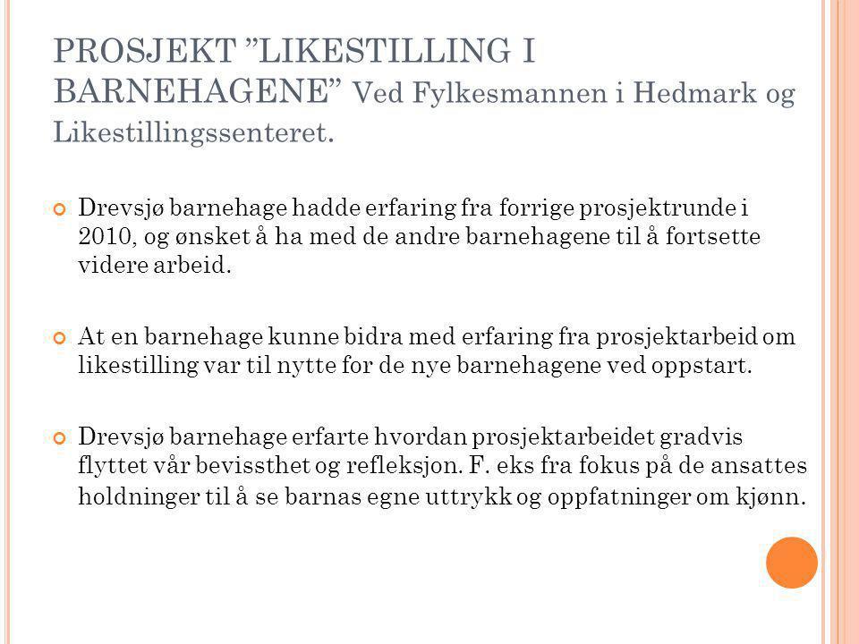 """PROSJEKT """"LIKESTILLING I BARNEHAGENE"""" Ved Fylkesmannen i Hedmark og Likestillingssenteret. Drevsjø barnehage hadde erfaring fra forrige prosjektrunde"""