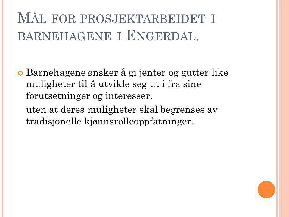 M ÅL FOR PROSJEKTARBEIDET I BARNEHAGENE I E NGERDAL. Barnehagene ønsker å gi jenter og gutter like muligheter til å utvikle seg ut i fra sine forutset