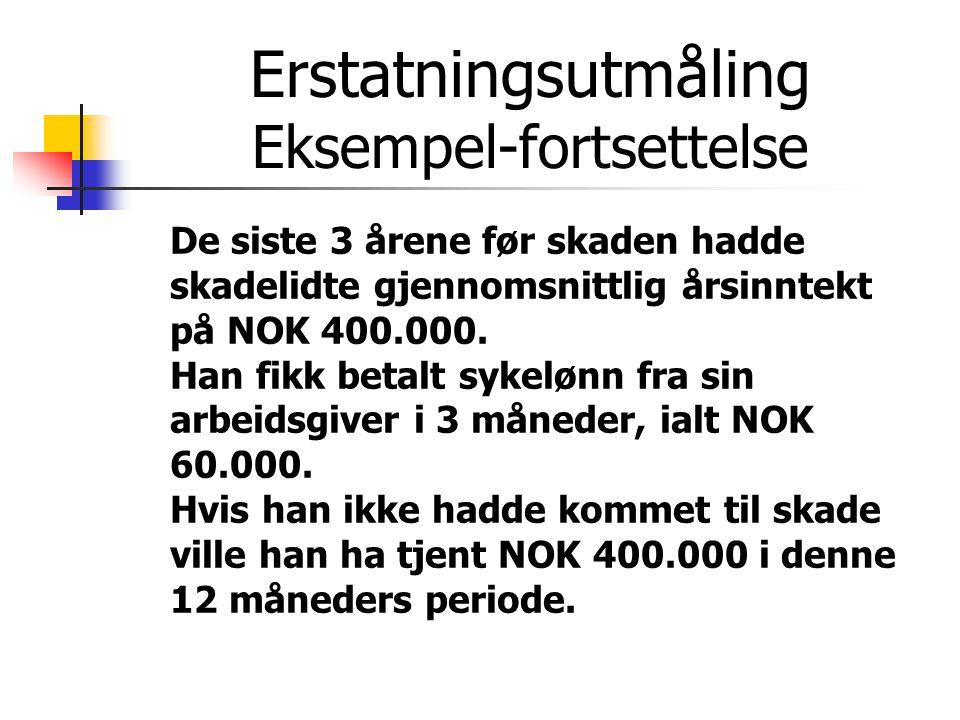 Erstatningsutmåling Eksempel-fortsettelse De siste 3 årene før skaden hadde skadelidte gjennomsnittlig årsinntekt på NOK 400.000. Han fikk betalt syke