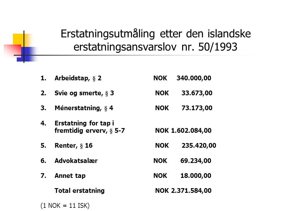 Erstatningsutmåling etter den islandske erstatningsansvarslov nr. 50/1993 1.Arbeidstap, § 2NOK 340.000,00 2.Svie og smerte, § 3 NOK 33.673,00 3.Méners