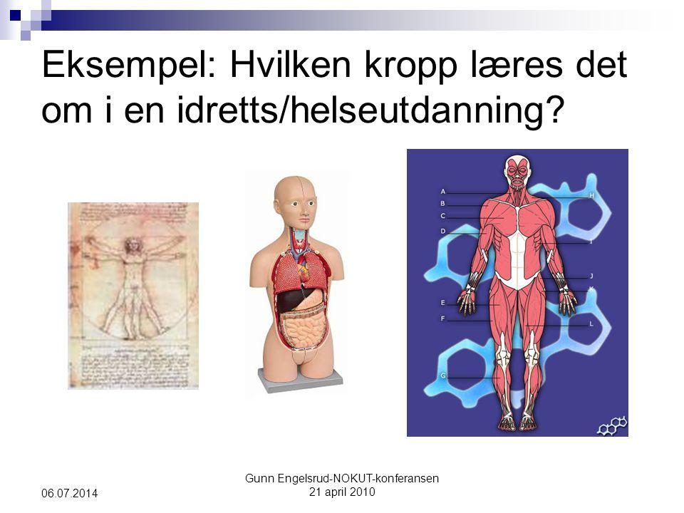 Gunn Engelsrud-NOKUT-konferansen 21 april 2010 06.07.2014 Eksempel: Hvilken kropp læres det om i en idretts/helseutdanning?