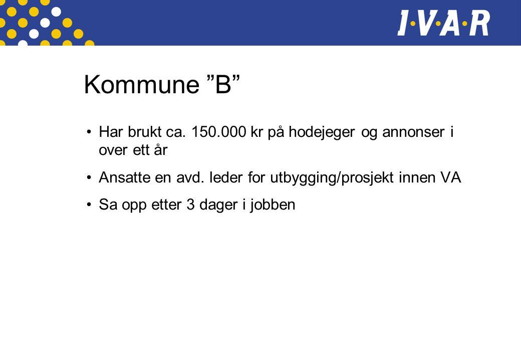 Kommune B •Har brukt ca. 150.000 kr på hodejeger og annonser i over ett år •Ansatte en avd.