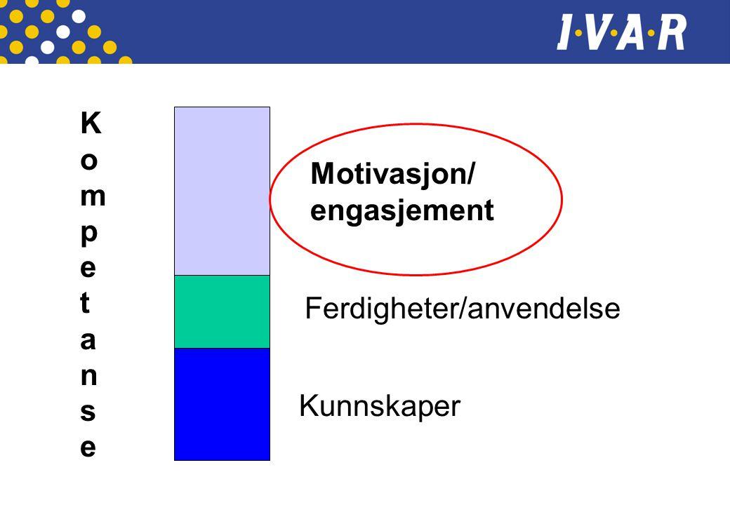 Kunnskaper Ferdigheter/anvendelse Motivasjon/ engasjement KompetanseKompetanse