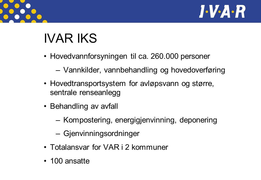 IVAR IKS •Hovedvannforsyningen til ca.
