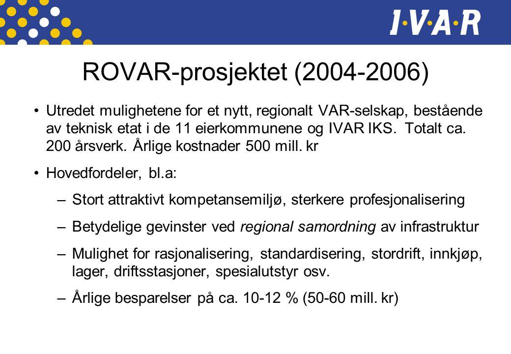 ROVAR-prosjektet (2004-2006) •Utredet mulighetene for et nytt, regionalt VAR-selskap, bestående av teknisk etat i de 11 eierkommunene og IVAR IKS.