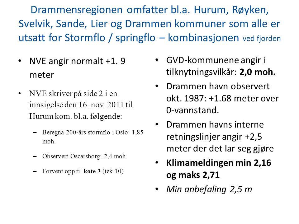 Drammensregionen omfatter bl.a. Hurum, Røyken, Svelvik, Sande, Lier og Drammen kommuner som alle er utsatt for Stormflo / springflo – kombinasjonen ve