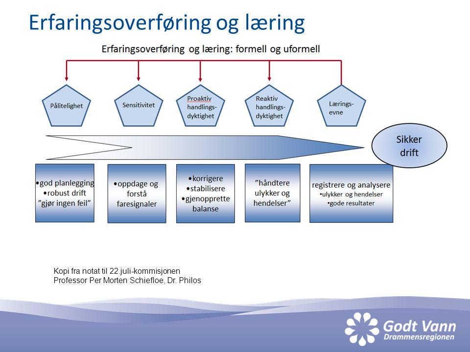Erfaringsoverføring og læring Kopi fra notat til 22.juli-kommisjonen Professor Per Morten Schiefloe, Dr.