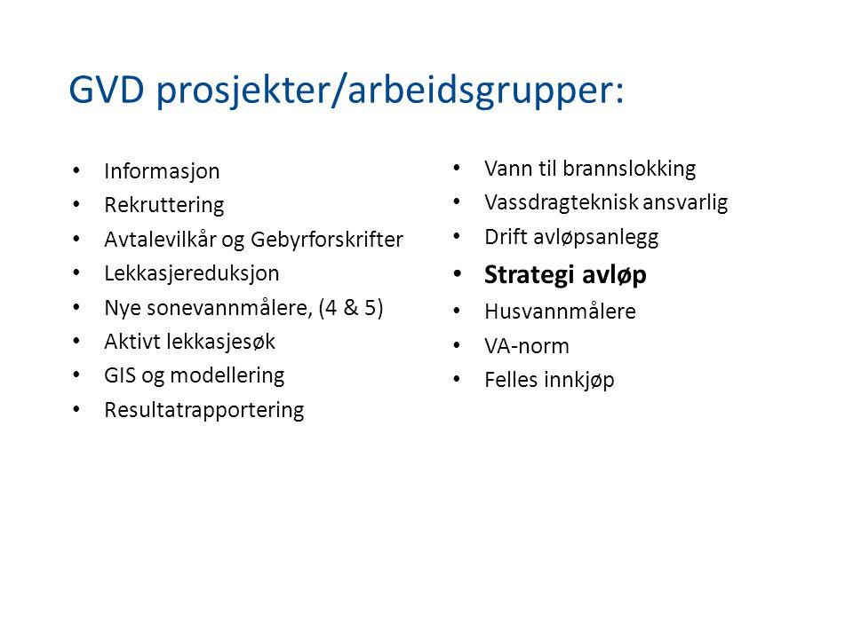 GVD prosjekter/arbeidsgrupper: • Informasjon • Rekruttering • Avtalevilkår og Gebyrforskrifter • Lekkasjereduksjon • Nye sonevannmålere, (4 & 5) • Akt