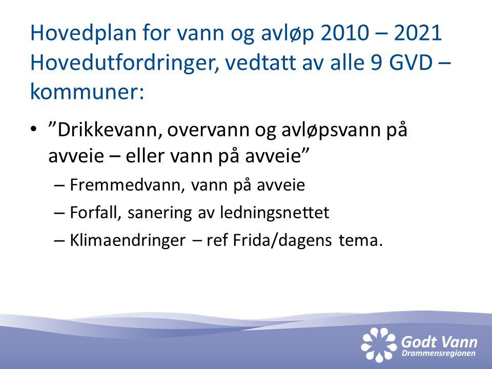 """Hovedplan for vann og avløp 2010 – 2021 Hovedutfordringer, vedtatt av alle 9 GVD – kommuner: • """"Drikkevann, overvann og avløpsvann på avveie – eller v"""