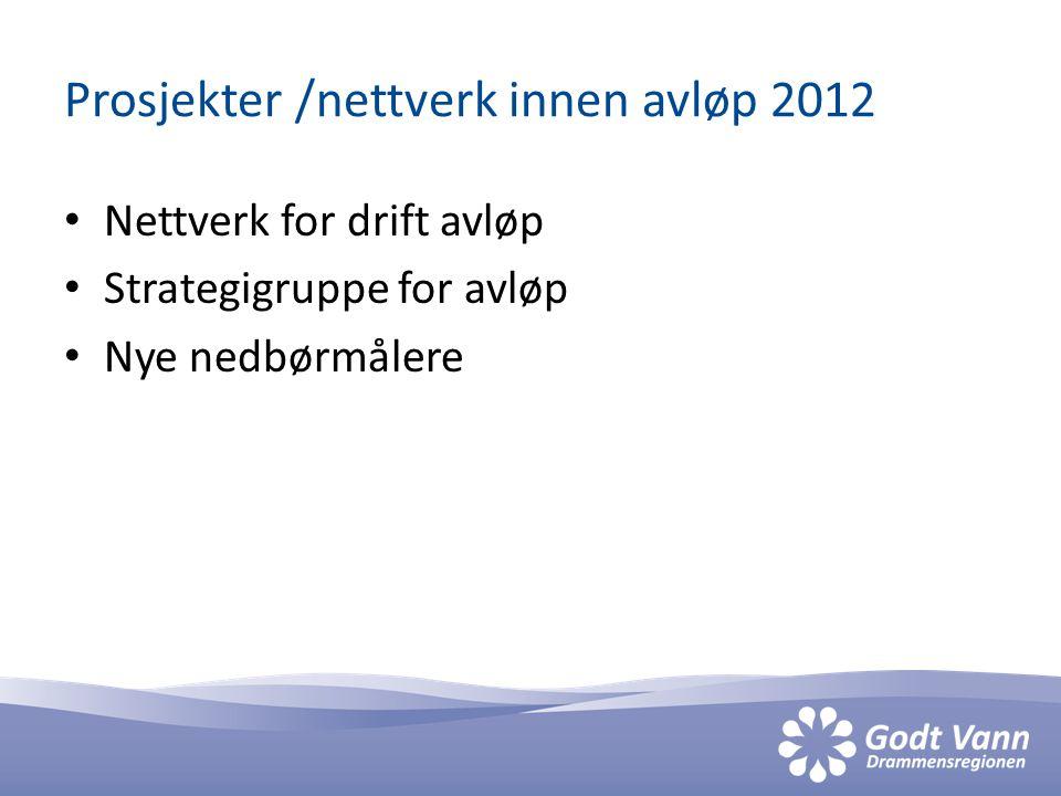 Prosjekter /nettverk innen avløp 2012 • Nettverk for drift avløp • Strategigruppe for avløp • Nye nedbørmålere