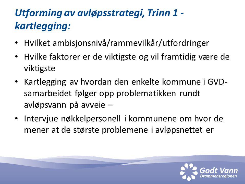Utforming av avløpsstrategi, Trinn 1 - kartlegging: • Hvilket ambisjonsnivå/rammevilkår/utfordringer • Hvilke faktorer er de viktigste og vil framtidi