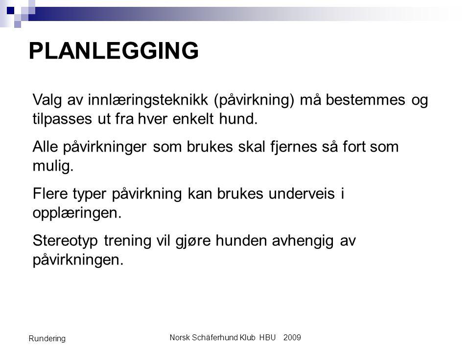 Norsk Schäferhund Klub HBU 2009 Rundering PLANLEGGING Valg av innlæringsteknikk (påvirkning) må bestemmes og tilpasses ut fra hver enkelt hund. Alle p