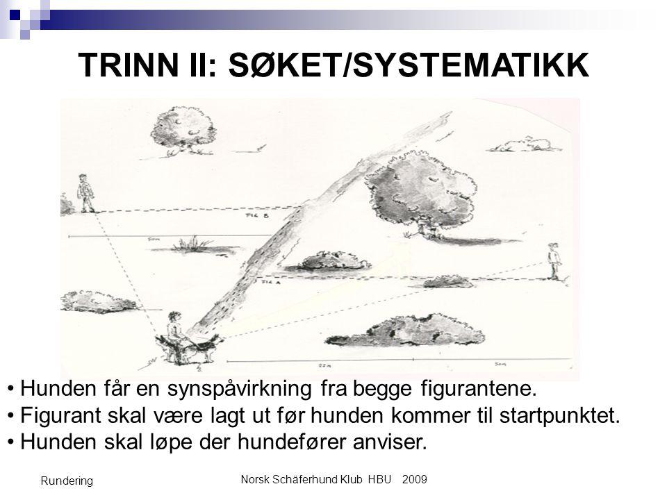 Norsk Schäferhund Klub HBU 2009 Rundering TRINN II: SØKET/SYSTEMATIKK •Hunden får en synspåvirkning fra begge figurantene.