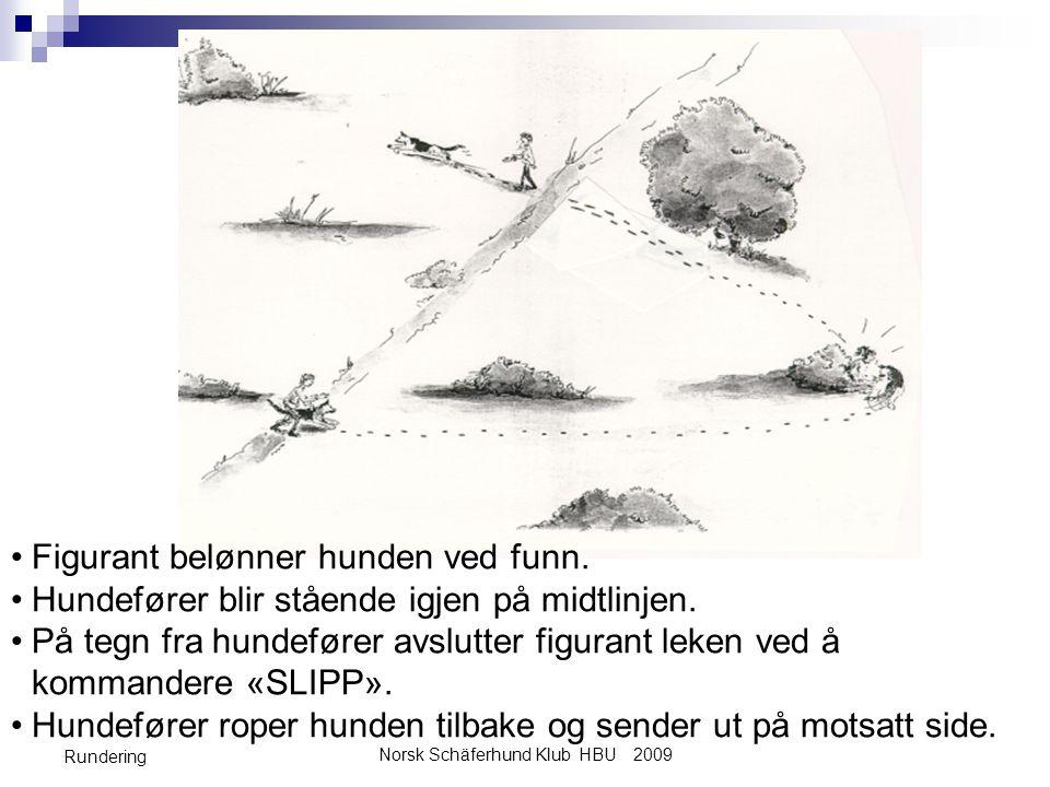 Norsk Schäferhund Klub HBU 2009 Rundering •Figurant belønner hunden ved funn. •Hundefører blir stående igjen på midtlinjen. •På tegn fra hundefører av