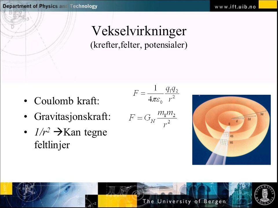 Vekselvirkninger (krefter,felter, potensialer) •Coulomb kraft: •Gravitasjonskraft: •1/r 2  Kan tegne feltlinjer