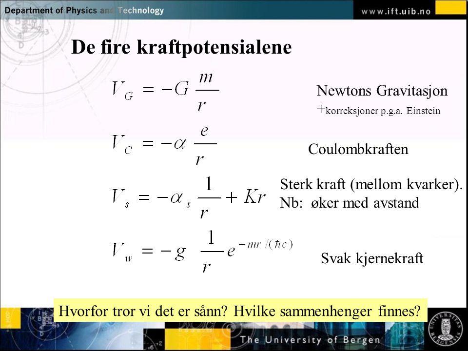 Normal text - click to edit De fire kraftpotensialene Newtons Gravitasjon + korreksjoner p.g.a. Einstein Coulombkraften Sterk kraft (mellom kvarker).