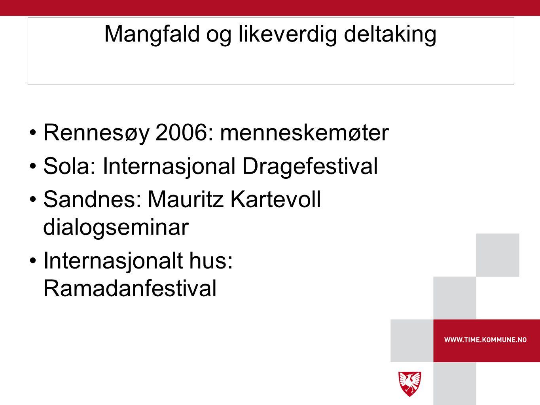 Mangfald og likeverdig deltaking •Rennesøy 2006: menneskemøter •Sola: Internasjonal Dragefestival •Sandnes: Mauritz Kartevoll dialogseminar •Internasj