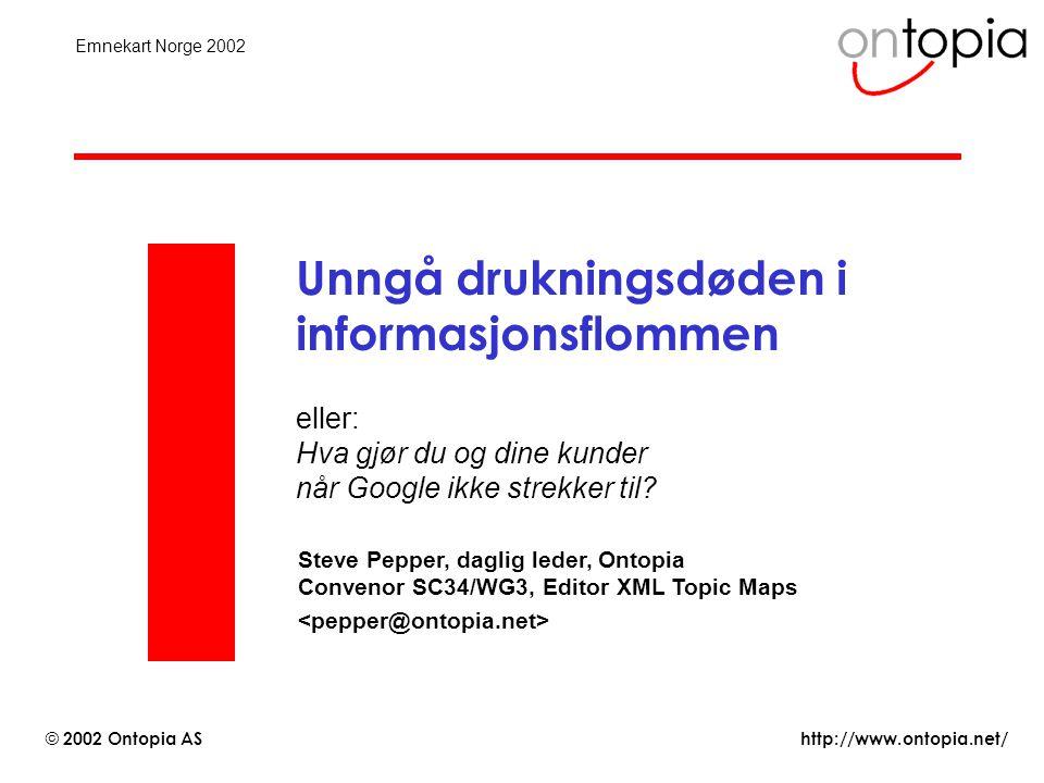 http://www.ontopia.net/ © 2002 Ontopia AS Emnekart Norge 2002 Unngå drukningsdøden i informasjonsflommen eller: Hva gjør du og dine kunder når Google ikke strekker til.