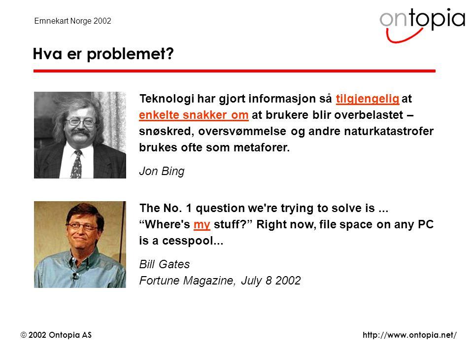 http://www.ontopia.net/ © 2002 Ontopia AS Emnekart Norge 2002 Rollen til emnekart i kunnskap.no (2 av 3) Fundamentet: •De kvalitetssikrede artiklene knyttes simpelthen opp som forekomster av emnene i ryggraden