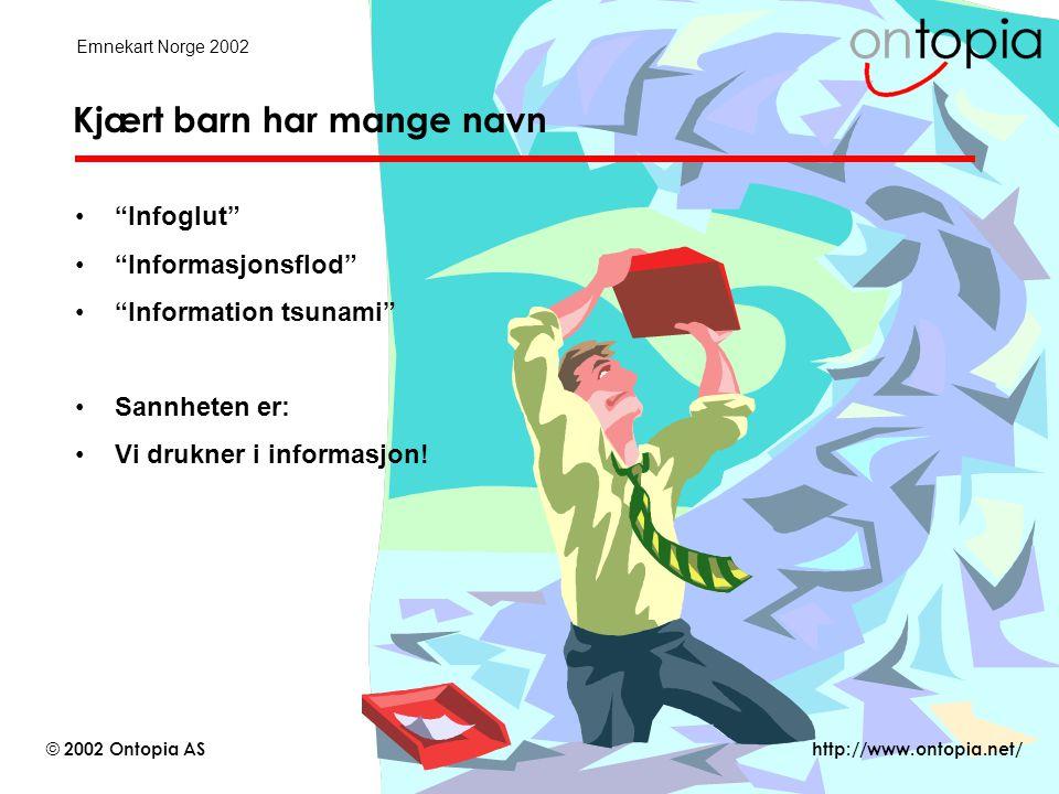 http://www.ontopia.net/ © 2002 Ontopia AS Emnekart Norge 2002 Temaidentitet og det tredje laget •Det finnes et tredje lag : virkelighet •Hvert emne i emnekartet representerer et tema i den virkelige verden –Temaidentiet slår fast hvilket tema et emne representerer –Det virker både for mennekser og for datamaskiner –Med en PSI (published subject indicator) kan emner deles på tvers av emnekart, e.g.