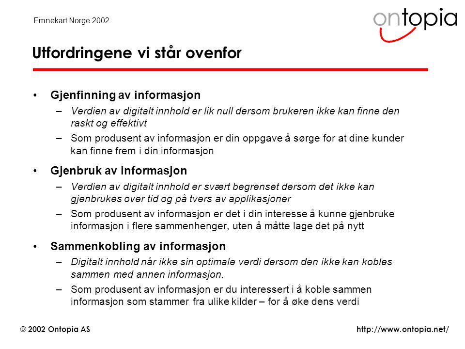 http://www.ontopia.net/ © 2002 Ontopia AS Emnekart Norge 2002 Hva kan emnekart brukes til.