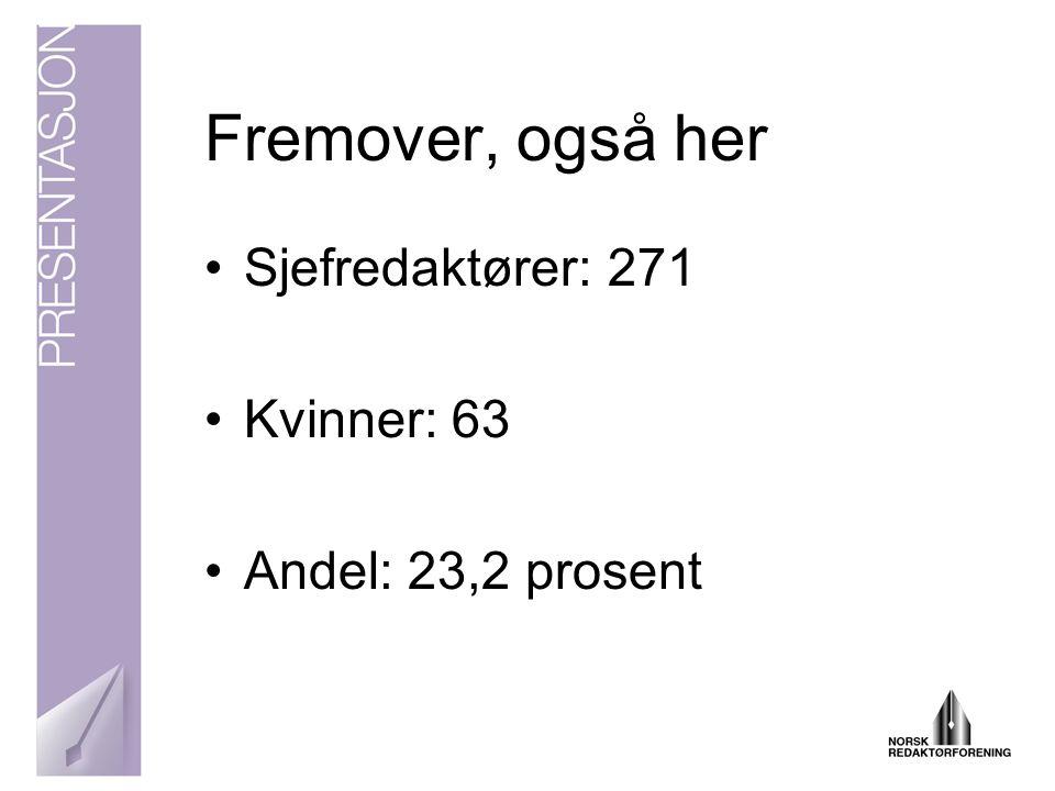 Og toppsjefene - 2006 •Sjefredaktører: 241 •Kvinner: 38 •Andel: 15,7 prosent