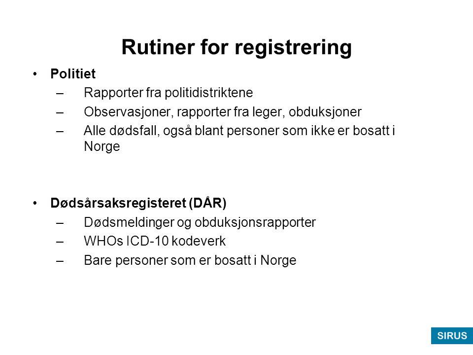 Rutiner for registrering •Politiet –Rapporter fra politidistriktene –Observasjoner, rapporter fra leger, obduksjoner –Alle dødsfall, også blant personer som ikke er bosatt i Norge •Dødsårsaksregisteret (DÅR) –Dødsmeldinger og obduksjonsrapporter –WHOs ICD-10 kodeverk –Bare personer som er bosatt i Norge