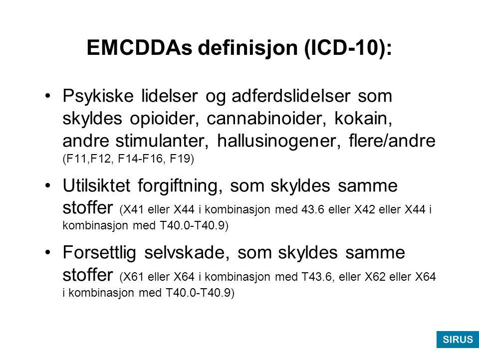 EMCDDAs definisjon (ICD-10): •Psykiske lidelser og adferdslidelser som skyldes opioider, cannabinoider, kokain, andre stimulanter, hallusinogener, flere/andre (F11,F12, F14-F16, F19) •Utilsiktet forgiftning, som skyldes samme stoffer (X41 eller X44 i kombinasjon med 43.6 eller X42 eller X44 i kombinasjon med T40.0-T40.9) •Forsettlig selvskade, som skyldes samme stoffer (X61 eller X64 i kombinasjon med T43.6, eller X62 eller X64 i kombinasjon med T40.0-T40.9)