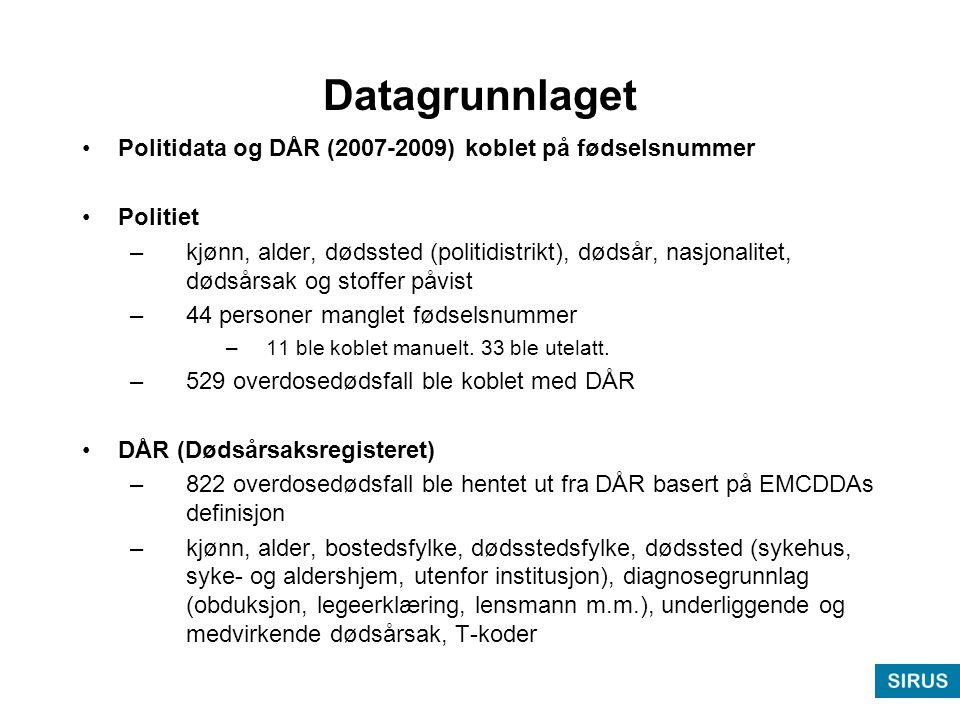 Datagrunnlaget •Politidata og DÅR (2007-2009) koblet på fødselsnummer •Politiet –kjønn, alder, dødssted (politidistrikt), dødsår, nasjonalitet, dødsårsak og stoffer påvist –44 personer manglet fødselsnummer –11 ble koblet manuelt.