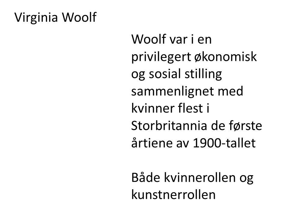 Virginia Woolf Woolf var i en privilegert økonomisk og sosial stilling sammenlignet med kvinner flest i Storbritannia de første årtiene av 1900-tallet