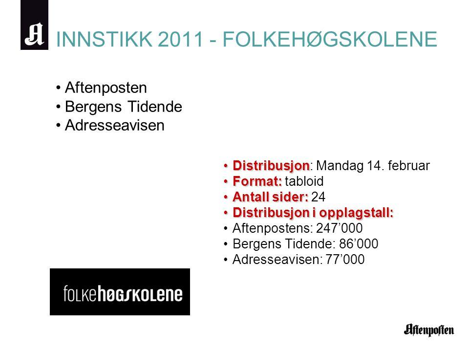 INNSTIKK 2011 - FOLKEHØGSKOLENE •Aftenposten •Bergens Tidende •Adresseavisen •Distribusjon •Distribusjon: Mandag 14. februar •Format: •Format: tabloid
