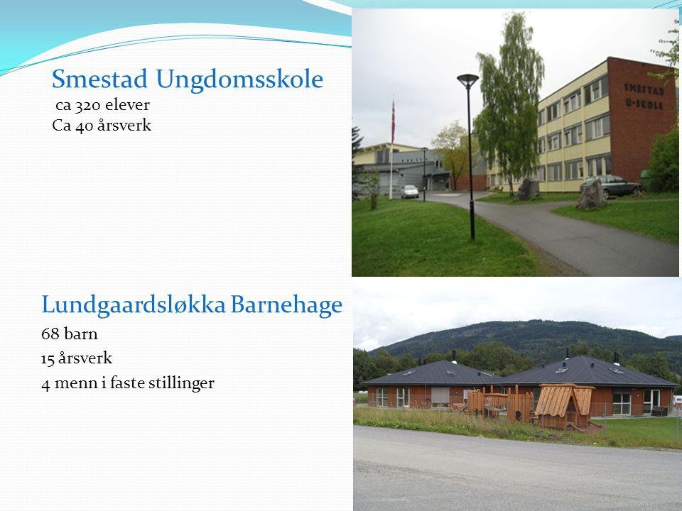 Smestad Ungdomsskole ca 320 elever Ca 40 årsverk Lundgaardsløkka Barnehage 68 barn 15 årsverk 4 menn i faste stillinger