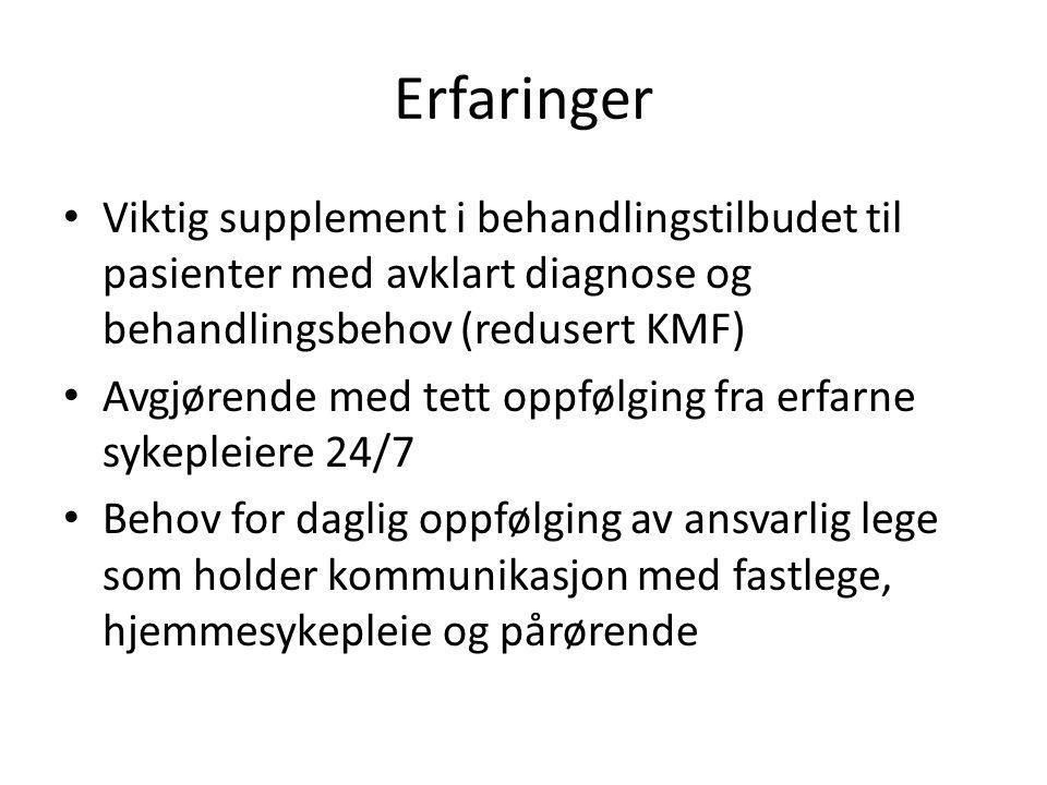 Erfaringer • Viktig supplement i behandlingstilbudet til pasienter med avklart diagnose og behandlingsbehov (redusert KMF) • Avgjørende med tett oppfø