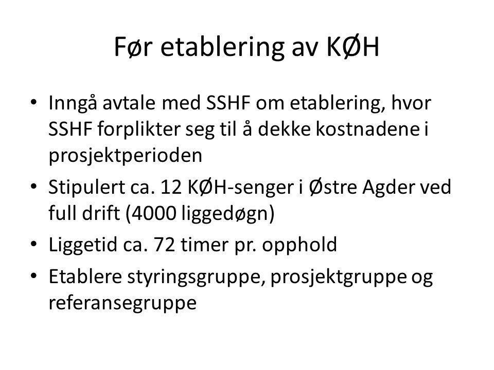 Før etablering av KØH • Inngå avtale med SSHF om etablering, hvor SSHF forplikter seg til å dekke kostnadene i prosjektperioden • Stipulert ca. 12 KØH