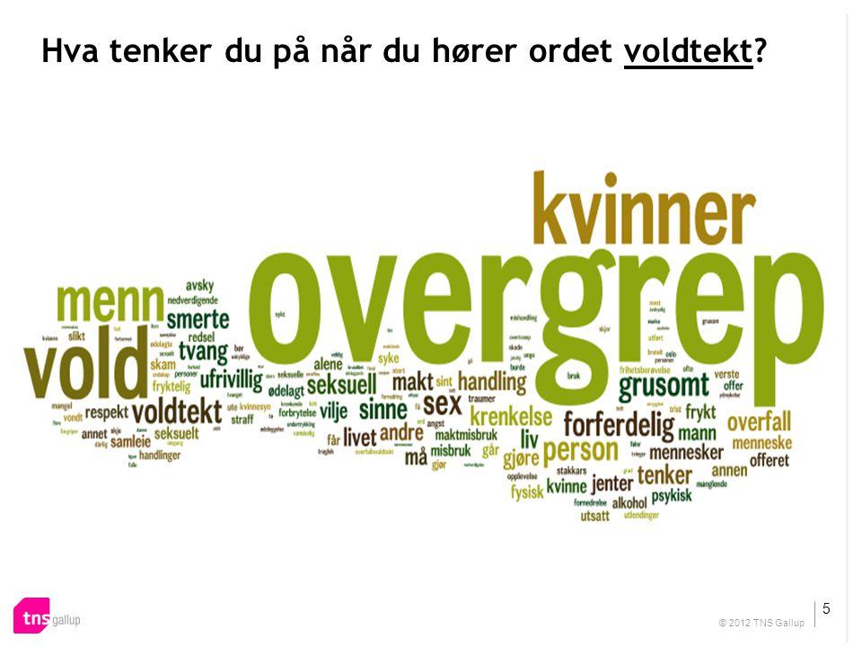 Insert your text here Hva tenker du på når du hører ordet voldtekt? 5 © 2012 TNS Gallup
