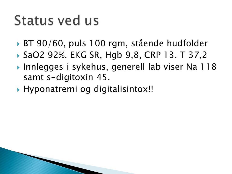  BT 90/60, puls 100 rgm, stående hudfolder  SaO2 92%. EKG SR, Hgb 9,8, CRP 13. T 37,2  Innlegges i sykehus, generell lab viser Na 118 samt s-digito