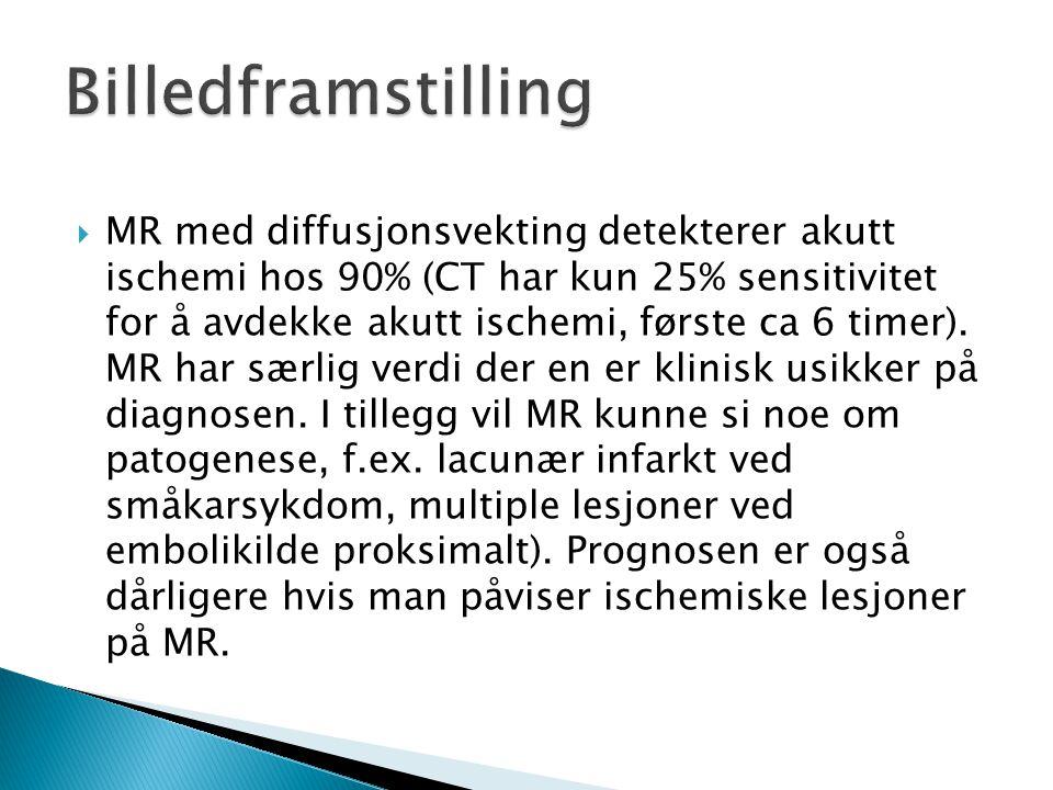  MR med diffusjonsvekting detekterer akutt ischemi hos 90% (CT har kun 25% sensitivitet for å avdekke akutt ischemi, første ca 6 timer). MR har særli