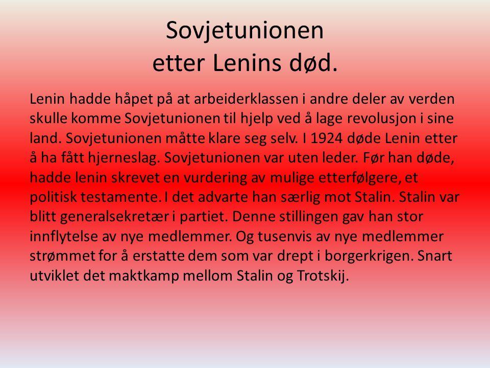 Sovjetunionen etter Lenins død. Lenin hadde håpet på at arbeiderklassen i andre deler av verden skulle komme Sovjetunionen til hjelp ved å lage revolu