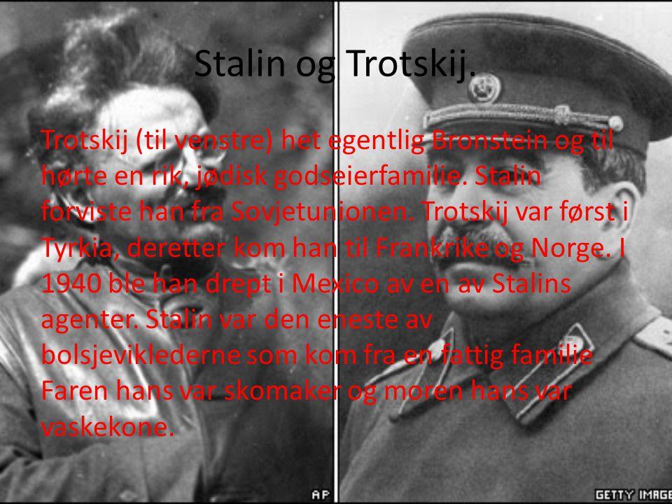 Stalin og Trotskij. Trotskij (til venstre) het egentlig Bronstein og til hørte en rik, jødisk godseierfamilie. Stalin forviste han fra Sovjetunionen.