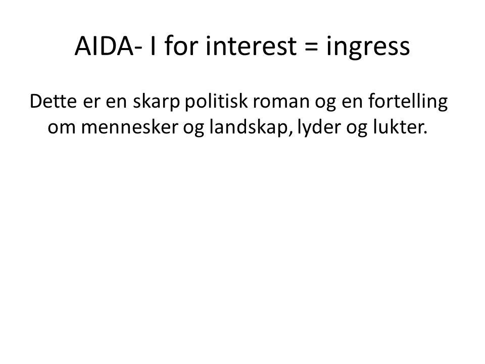 AIDA- I for interest = ingress Dette er en skarp politisk roman og en fortelling om mennesker og landskap, lyder og lukter.